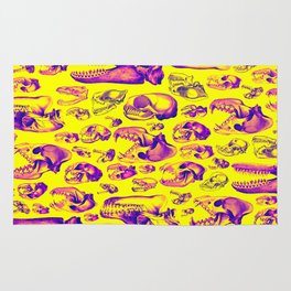 Carnivore HOT PINK & YELLOW / Animal skull illustrations from the top of the food chain Rug