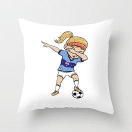 Dabbing Soccer Player Funny Australia Fan design girl Throw Pillow