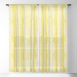 Cable Row Yellow Sheer Curtain