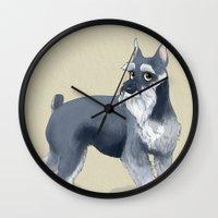 schnauzer Wall Clocks featuring Schnauzer by Bark Point Studio