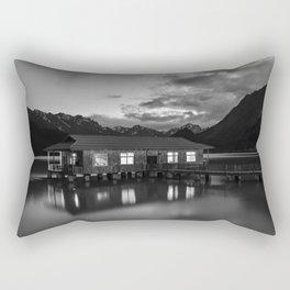 Black and White China Boathouse Rectangular Pillow