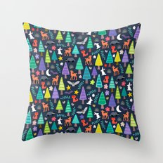 midnight woodland Throw Pillow