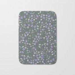 Purple Watercolor Flowers on Green Bath Mat
