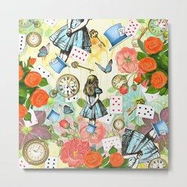 Alice In Wonderland Vivid Collage Metal Print