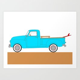 Classic Surf Truck – Blue and Red Art Print