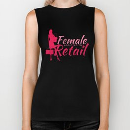 Female Addicted to Retail Funny Shopping  Biker Tank
