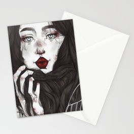 Lady Red Lips Stationery Cards