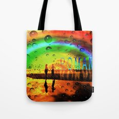 Romantic Sunset Reflections and Rainbow Tote Bag