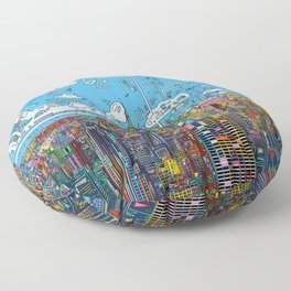 new york city skyline colorful Floor Pillow