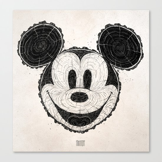 wooden Mickey Mouse Canvas Print