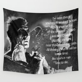 Like tears in rain - black - quote Wall Tapestry