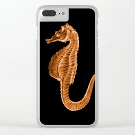 Seahorse ocean sea in black background Clear iPhone Case