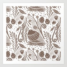California Quail (Cocoa) Art Print