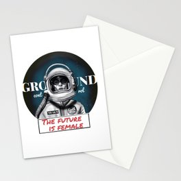 The Future is female space astronaut girl Stationery Cards