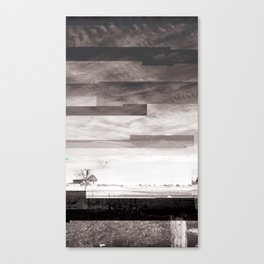 End Transmission (black & white glitched image) Canvas Print