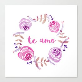 Te Amo - Pink Watercolor Floral Wreath 'I love you' in Spanish Canvas Print