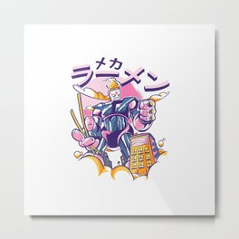 Cool Otaku Japanese Anime Lover Manga Reader Ramen Robot T-Shirt Metal Print