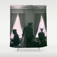 burgundy Shower Curtains featuring Burgundy. by mr_iiozo
