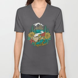 Pacific Northwest Coffee and Nature Unisex V-Neck