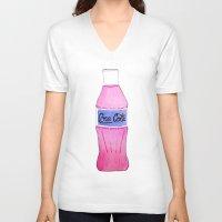coke V-neck T-shirts featuring Pink Coke by Shellsea Art