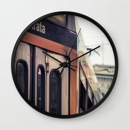 Entrance of a tram in the center of Milan Wall Clock