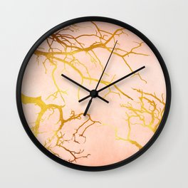 Golden Tree Branches on an Ocher and Pink Textured Metal Wall Clock