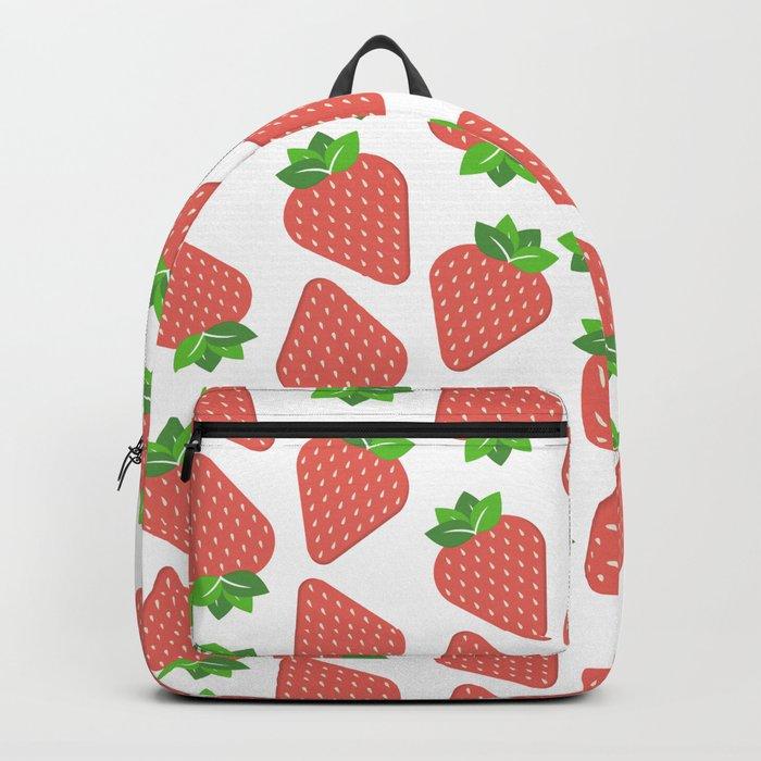 Strawberries Over White Backpack