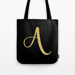Gold Glitter A is the New Black Tote Bag