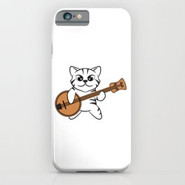 "Stay in love with this cute and adorable tee design with text ""Funny Cat with Banjo"" iPhone Case"