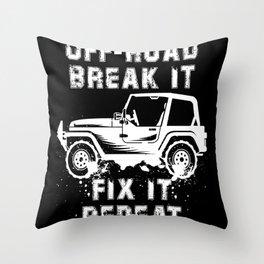 OFF-ROADING: Off Road Break Fix Motif Throw Pillow