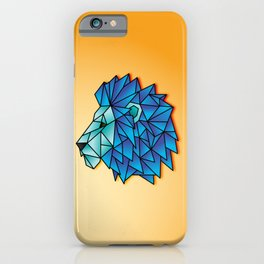 Triangular Abstract Lion in Shades of Blue iPhone Case