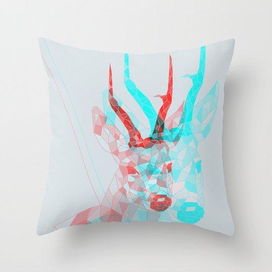 psychedelic deer Throw Pillow