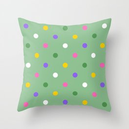 Colorful spring party polka dots on pastel green Throw Pillow