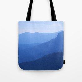 Layers of mountains at dusk, Blue Mountains, NSW, Australia Tote Bag