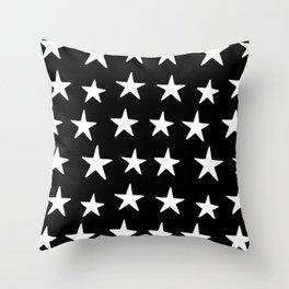 Star Pattern White On Black Throw Pillow