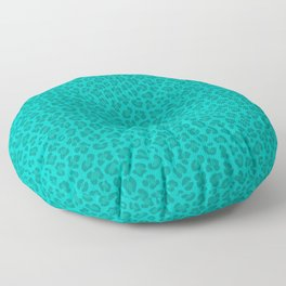Leopard - Robin's Egg Blue Floor Pillow