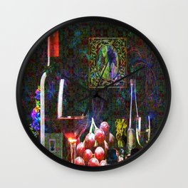 """""""More Wine"""" by surrealpete Wall Clock"""