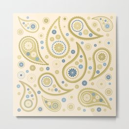 Paisley Funky Design Cream Golds Blues Metal Print