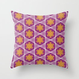 White and gold lace on plum Throw Pillow