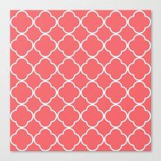 Quatrefoil coral Canvas Print