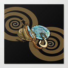 Abalone with Historic Maori Fishing Hooks Canvas Print