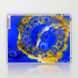 Royal Blue and Gold Abstract Lace Design Laptop & iPad Skin