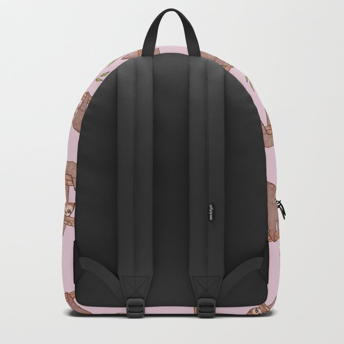 Lazy Baby Sloth Pattern in Pink Backpack