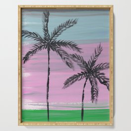 two palm trees sunset sky Serving Tray