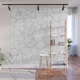 Gray contours of abstract flowers Wall Mural