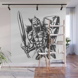 Skeleton knight illustration Wall Mural