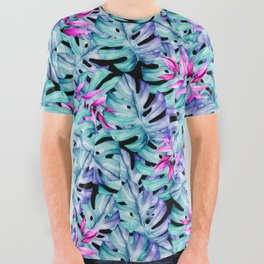 Blue Pink Tropical Leaves Pattern All Over Graphic Tee