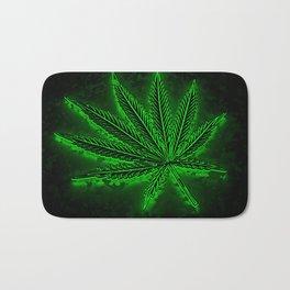 glowing hemp leaf Bath Mat