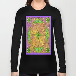 Lilac-Gold Green Peridot Gems August Birthstone Design Long Sleeve T-shirt
