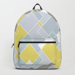 Yellow & Gray Geometric Pattern Backpack